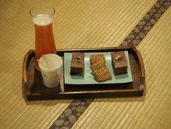 Tea break - cakes and fruit juice