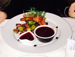 Reindeer steak. Blackberry sauce. Beautiful and perfectly cooked.
