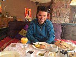 Happy at breakfast