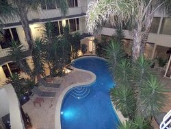 The atrium swimming pool was actually the best part of the hotel, but nobody ever went swimming