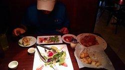 Spaghetti w-Meat balls, Greek Salad, Garlic Bread & Knots.  Sorry for presentation, we couldn't