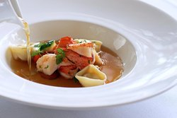 Lobster Minestrone with Lobster Tortellini, Carrot, Leek, and Zucchini