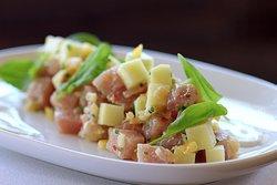 Hamachi Crudo with Apple, Preserved Lemon and Pine Nut