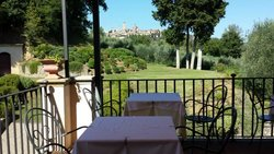 View from breakfast area to San Gimignano