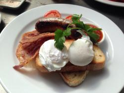 Poached eggs w sausage & bacon. What better way to start the day!