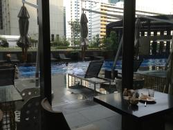 breakfast area is next to the pool.