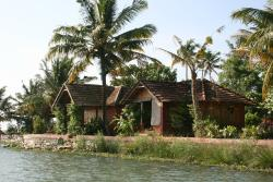 The bungalows seen from the back waters