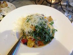 Fresh Tomatoes, angel hair pasta, olives, basil & roasted garlic