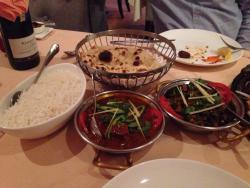 Lamb vindaloo, okra, roti and basmati rice