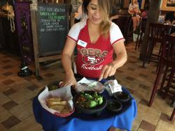 Fresh guacamole made right at our table , a must have served with fresh made flour chips ... Mmm