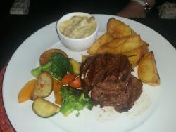 Fillet steak,duck fat potatoes and mushroom sauce