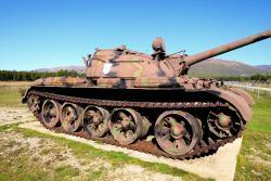 Old Soviet era tanks on static display at hill bottom