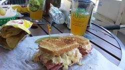 Corn Beef Reuben - Stacked High and a Cold Beer