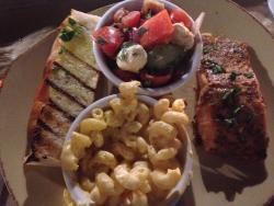 Salmon, macaroni, mozzarella/tomato salad