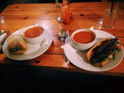 Roasted red pepper & paprika soup, burrito & sausage sandwich with rocket & chilli jam, soooo go