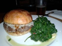 burger with onions, a1 sauce, mushrooms & spinach with garlic on the side