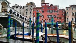 View from the other side of the Canal. Hotel Rialto (red building) right next to the Rialto Brid