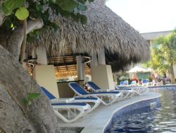 One of the swim up bars and lounge area