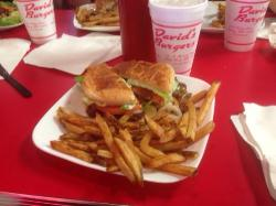 Cheeseburger with grilled onions and fries at David's Burgers
