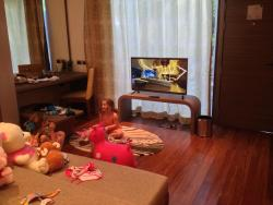 Living area where kids slept - surrounded by the Hotel toys