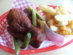Hot dark chicken (thigh and leg) with fries