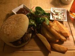 Amazing Tollgate Burger, hand cut chips.