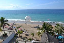 Widok na plaże z tarasu