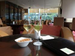 Relaxing in lobby bar