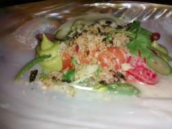 Tiradito with avocado cream and wasabi