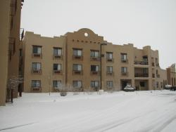 View of back of hotel from parking lot