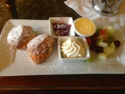 A very well presented cream tea with scones