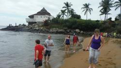 Walking the beach outside the resort