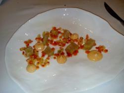 Lubina marinada con verduritas