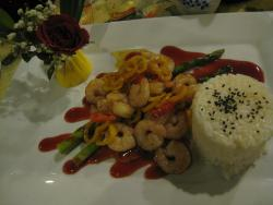 Rainbow Shrimp with Rice, Asparagus (and a rose in a carved cucumber vase)