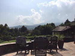 Mount Gahinga & Muhabura from the main lodge patio