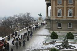 In the front of the Hungarian National Gallery, to the main entrance