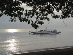 The dive boat during the evening