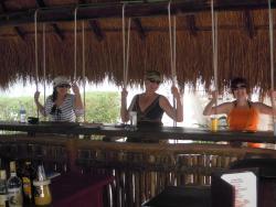 Beach cabana bar swings