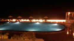 Swimming pool at night.
