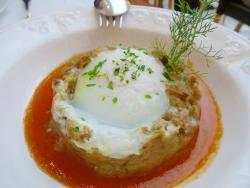 Berenjena gratinada con huevo