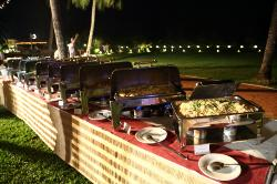 wedding dinner buffet served at the cluser lawns