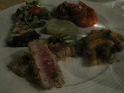 Rare tuna, Giant shrimp, pasta con sarde, roast eggplant, green salad