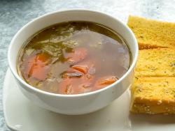 Beef and Barley Soup with Garlic Bread