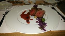 Venison entrecote, blackberry wine jelly, brussels sprouts, beluga lentils with raspberry vinega