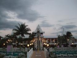 View from the pool to the front lobby area