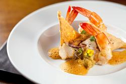 Prawn and octopus, plantain, Brazil nuts, paprika air and cocoa
