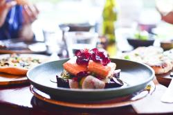 Salmon with Beetroot, Mint and Pomegranate.