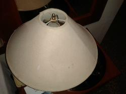 old lamp with dirty lamp shade in our room - very poor shape.....