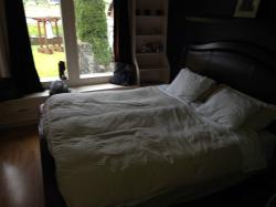 king size bed & ample closet space - with a tv, dvd player, & wifi