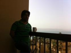 sipping coffee at balcony